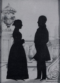 a fine portrait of a lady and gentleman standing on a balcony with ornate balustrade and urn by samuel metford