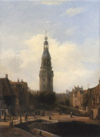 dutch town scene by françois jean louis boulanger