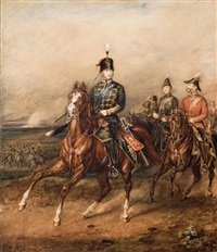 his royal highness edward albert, price of wales reviewing the troops by henry j. fleuss