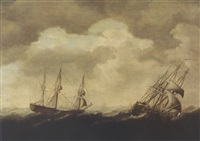 merchantmen in stormy seas by jacob gerritz loef