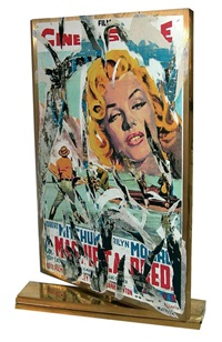 cinema (marilyn fronte e far west retro) by mimmo rotella