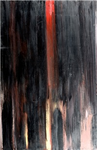 abstract composition in red and black by avshalom okashi