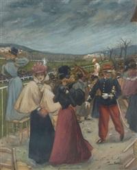 assemblée au champ de courses à longchamps by leon-antoine-lucien couturier