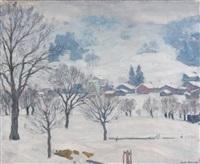 village sous la neige by arnold borisovich lakhovsky