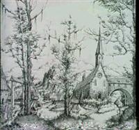 landschaft mit einem von einem fluss durchquerten dorf   (hollstein 41; schwarz 68) by augustin hirschvogel