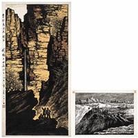 entdeckung einer quelle in den bergen (+ bauplatz auf dem berg wu-hsiao-ling, smllr.; 2 works) by liu kuang