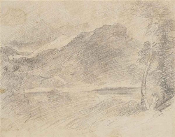 a mountain beyond a lake probably borrowdale by john constable