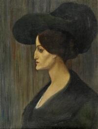 portrait de femme au chapeau vert by emile fabry