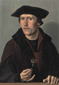 portrait of a man, half-length, in black and brown robes, holding a carnation by dirck jacobsz