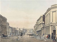collins street (from queen street); swanston street (1863); nicholson street, (fitzroy); queens wharf (yarra yarra 1864) (+ sandridge from hobson's bay (1863); 2 works) by françois cogne