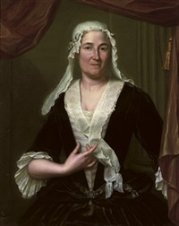 portrait of a lady in a dark green velvet dress and white chemise, wearing a white headdress by hieronymus van der mij