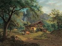 weideidyll mit schäfer in einer berglandschaft by joseph altenkopf