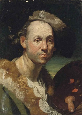 portrait of the artist in a green cloak with fur collar, holding a palette in his left hand by johann joseph zoffany