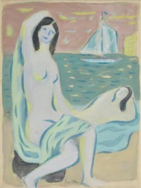 femmes sur la plage by jean olin