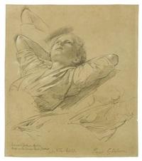 studien zum brustbild eines liegenden jungen (paul gärtner) (+ kopf- und handstudien eines mädchens, verso) by johann philipp eduard gaertner