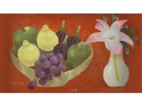 still life with bowl of fruit and lily by mary fedden