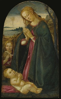 madonna and child with the infant saint john the baptist in a landscape by jacopo del sellaio