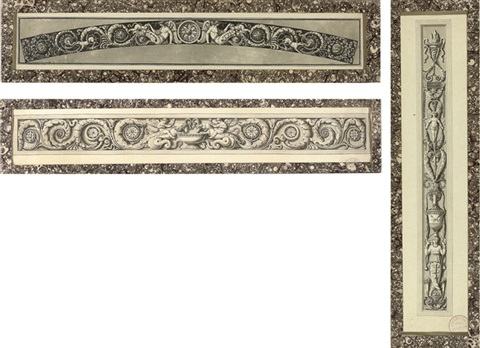 design for elaborate friezes 2 others 3 works by jean guillaume moitte