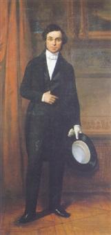 portrait d'homme à la redingote noire by auguste barthelemy glaize