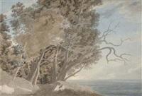 view on the galleria di sopra above lake albano by john robert cozens