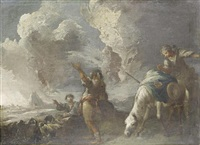 shepherds and their flock before an open landscape by valerio castello