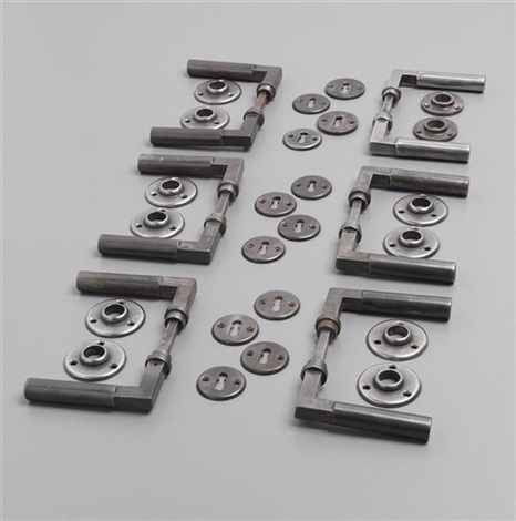 door handles with lock plates set of 6 by walter gropius