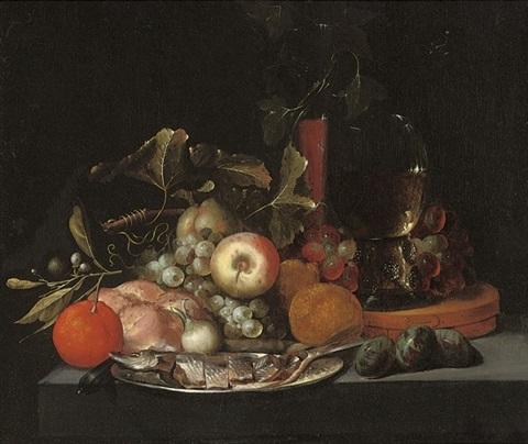 a herring on a pewter platter with oranges, figs, apples, grapes, a loaf of bread, a façon de venise glass and a roemer by jan pauwel gillemans the elder