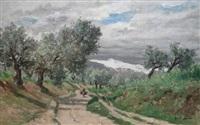 à dos de mulet sur la route, à travers les oliviers by emile louis vernier