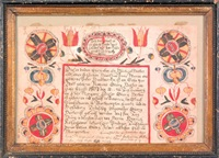 fraktur for peter herter with script surrounded by stylized flowers by martin brechall