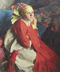 peasant woman with a green shawl by abram efimovich arkhipov