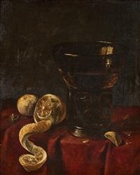 vanitas-stillleben mit zitronen, nüssen und weinglas by cornelis martinnus vermeulen