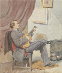young man with a guitar by albert george adams