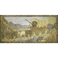 tile depicting ox drawn covered wagon by claycraft potteries