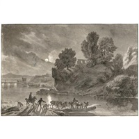 a moonlit river landscape, with travellers and their packhorses embarking on a barge by dirk maes