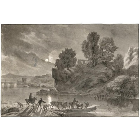 a moonlit river landscape with travellers and their packhorses embarking on a barge by dirk maes
