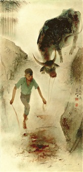 boys and buffalo by lee man fong