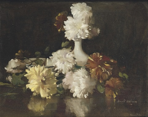 dahlias and chrysanthemums by david alison