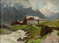 hof im hochgebirge by leonore (leo) hiller-baumann