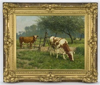 cows in a pasture by adolphe jacobs