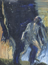 big dark figure and small light figure stepping by euan macleod