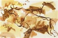 three charging bulls and running bulls (pair) by desmond carrick
