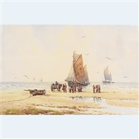 shellfishers on the beach by robert anderson