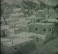 a western village, taos by carl woolsey