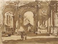 vue d'une place vénitienne avec arcades by francesco guardi