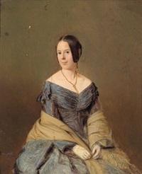 bildnis einer dame in blauem kleid (+ bildnis eines herrn, pair) by josef mansfeld