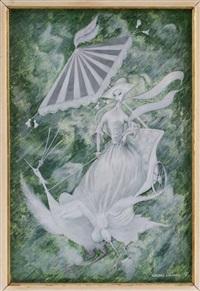 dama en carretilla con sombrilla by salvador valdés galindo