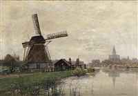 activity by a mill with a city in the background by hans herrmann
