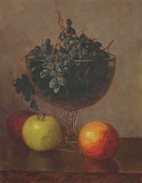 still life with fruit and glass compote by frederick s. batcheller