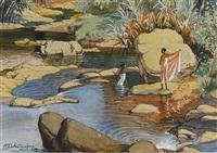 women at a bathing pool by abraham christopher gregory suriarachi amarasekara