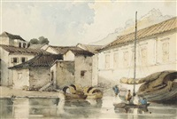 chinese godowns at macao by george chinnery